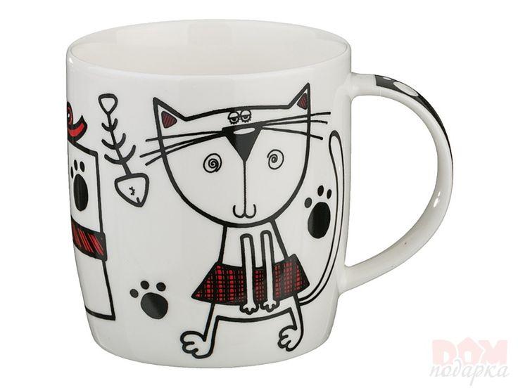 """Кружка """"Кошка"""", Артикул:385-903 Материал:Фарфор Объем:400 мл. Производитель:Hangzhou Страна:Китай Цена:375 руб."""