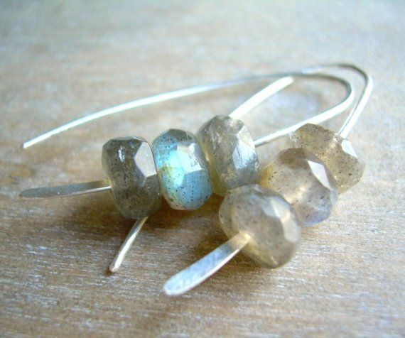 RESERVED . gray crush earrings . labradorite by RefreshJewelryToo