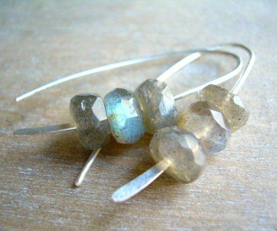 RESERVED . gray crush earrings . labradorite . sterling silver
