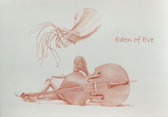 Kunstdruck Kontrabass 'Erstaunliches' gedruckt auf von EdenofEve