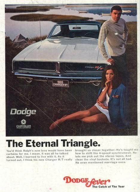 L'eterno triangolo: un uomo, la donna che ama e la sua auto.  Una vecchia pubblicità Dodge per la carta stampata che sembra raccontare la vita di molti uomini.