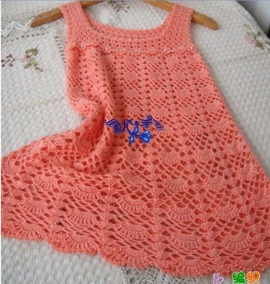 Pretty Peach Dress free crochet graph pattern.