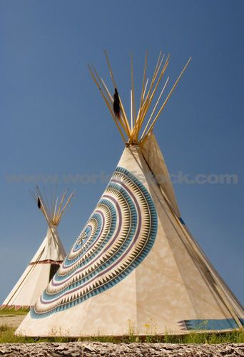 Native American Tee Pees Outside | Stock Photo titled - Two Indian Teepees In A Field With Blue Sky ...