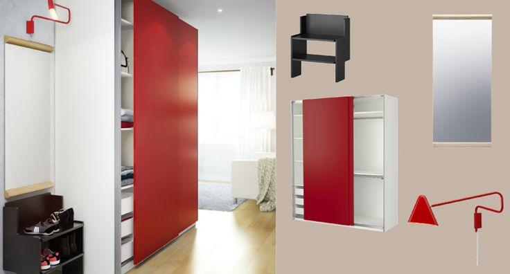 pax white wardrobe with hasvik red sliding doors and ikea ps 2012 black bench with shoe storage. Black Bedroom Furniture Sets. Home Design Ideas
