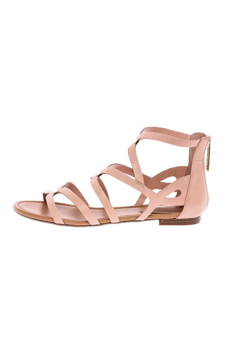 78672929950 Blush pink flat gladiator sandal with a back zipper closure. Blush Sandal  by Breckelle s.