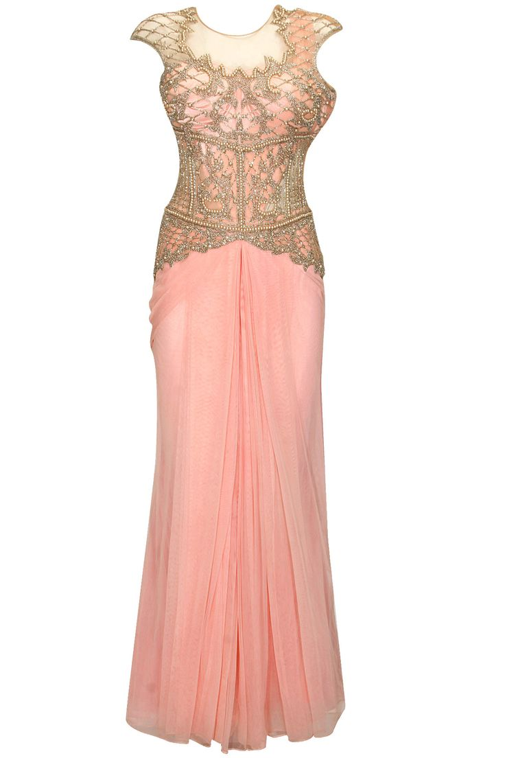 Baby pink pearl and embroidered lehenga sari by Sonaakshi Raaj. Shop now: http://www.perniaspopupshop.com/designers/sonaakshi-raaj #sonaakshiraaj #lehenga #shopnow #perniaspopupshop