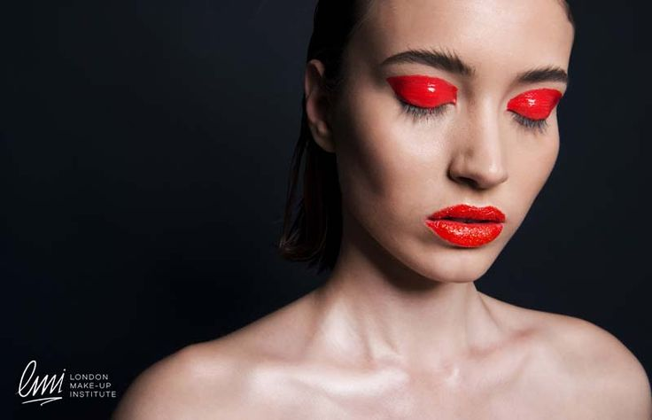 Red smokey eye makeup from LMI students! Work on creative makeup!