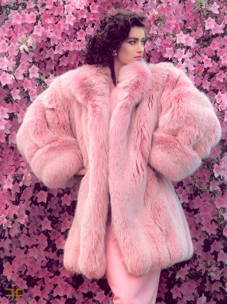 You don't get much more girly than this...a pink fur coat over a long pink gown! w. Fall Outfit Inspiration | Fur Vest | Fashion Trend | Ways to Wear | Style Fur | OOTD | Fur Jacket | Fur Coat | Street Style