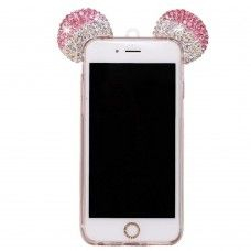 iPhone 7 - Mickey 3D Bling Bling Crystal Ear with Removable Strap TPU Soft Protective Cover Case - Pink