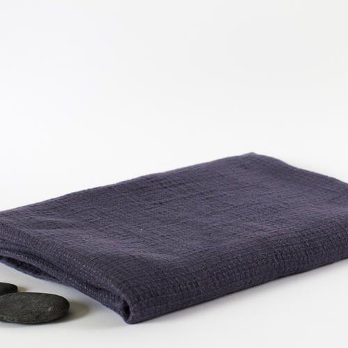 Washed Waffle Linen Bath Towel Viola Purple