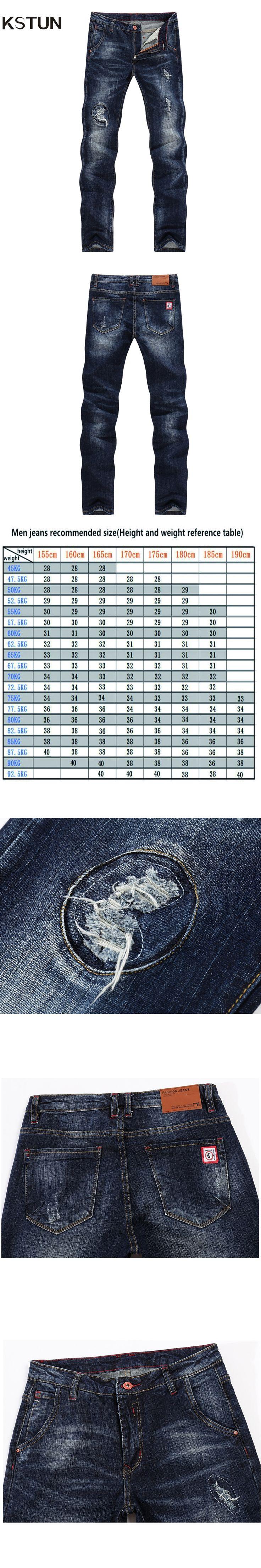 KSTUN Quality Brand Jeans Men Straight Slim Blue Ripped Patchwork Distressed Torn Biker Jeans Man Boys Students Denim Pants 38