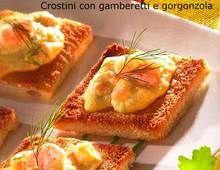 crostini con gamberetti e gorgonzola
