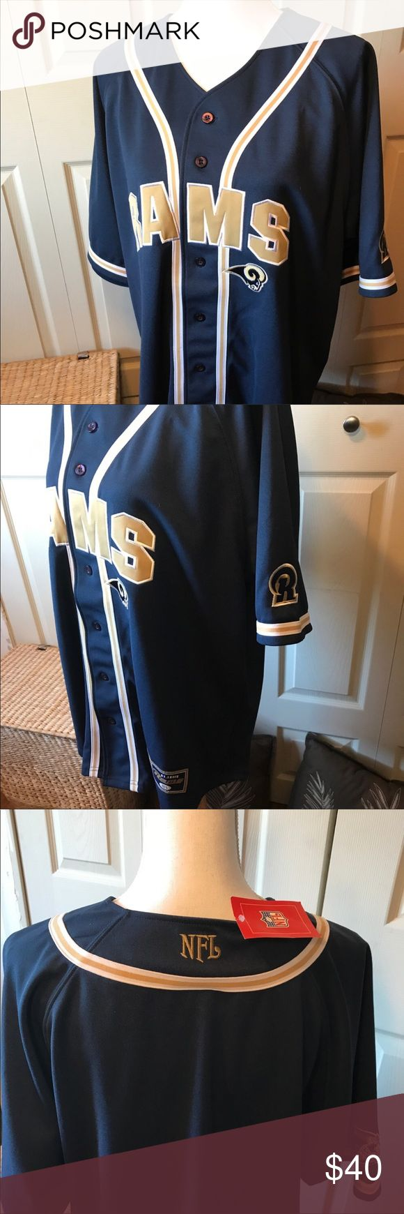 """""""BNWT"""" Los Angeles Rams Jersey, Size Large 🎁 All my items are clean and in New or Like New Condition. If you see something you like, please make an offer. Thank You for shopping my closet. This does not say Los Angeles, just says """"RAMS"""" NFL Shirts Casual Button Down Shirts"""