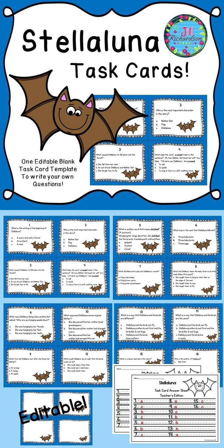 This task card activity is a great Literacy Center to use after the children have read Stellaluna by Janell Cannon! The children can record their responses on the printable or in a reading response notebook.Included:16 Comprehension Task Cards1 Answer Sheet1 Teacher's edition answer sheet1 editable page to write your own questions!