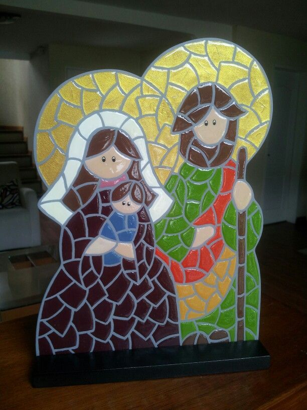 Holy family stained glass decor -- image only