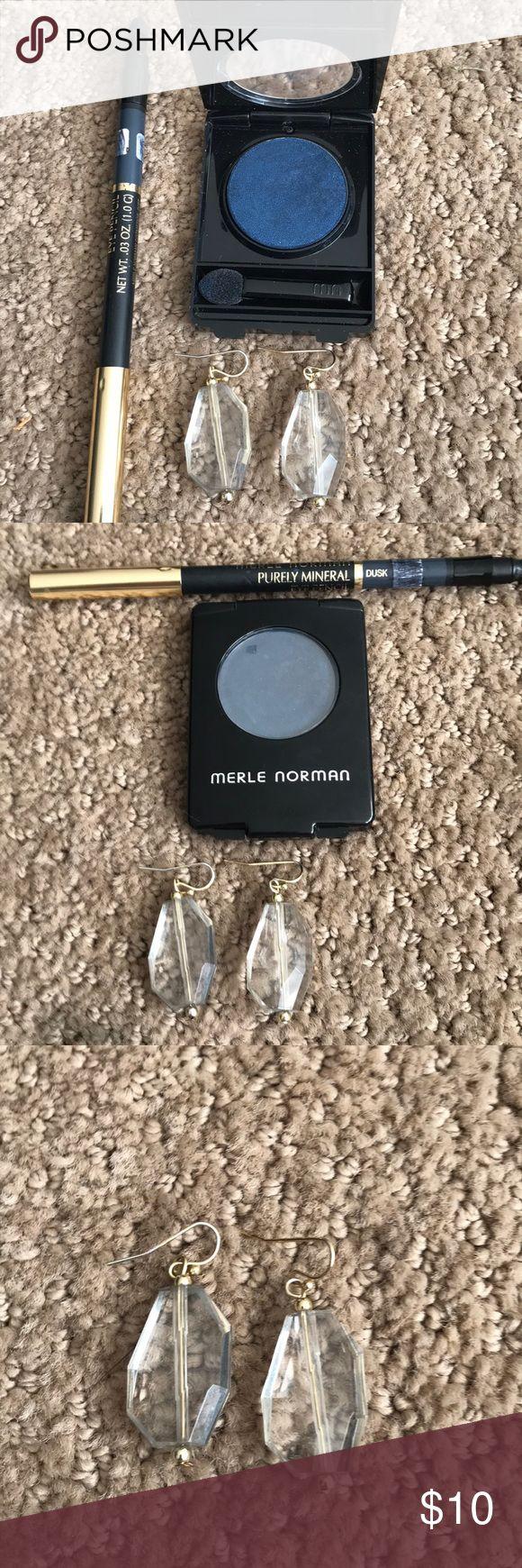 Eye shadow liner , drop earrings Eye shadow in Cobalt, matching bluish gray eyeliner , plus clear drop earrings❤️ merle norman Makeup Eyeshadow