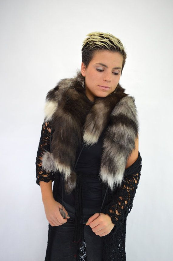 Real silver fox fur scarves  wrap collar fur pelt with by BeFur