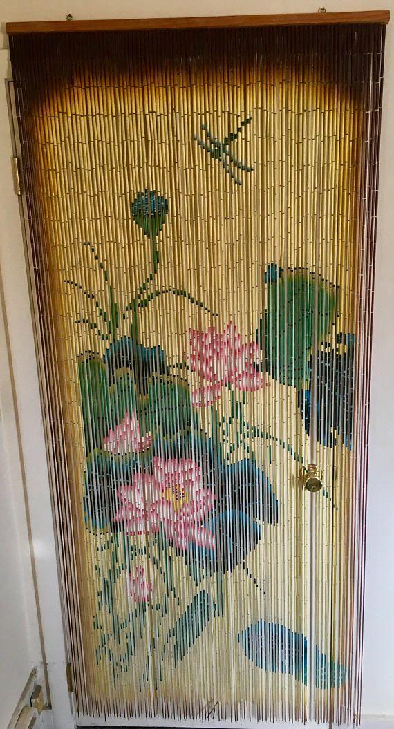 Waterlily Hanging Beaded Doorway Curtain 70s Boho Style Beaded