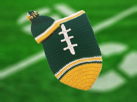 Green Bay Packers Baby Boy Football Cocoon & Hat by CoverMeAlways