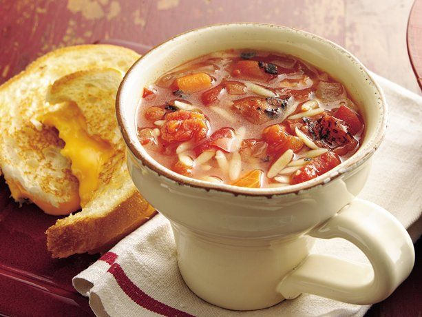 Fire-Roasted Tomato Basil Soup. Fire-roasted tomatoes bring robust flavor to tomato soup loaded with orzo pasta and vegetables.