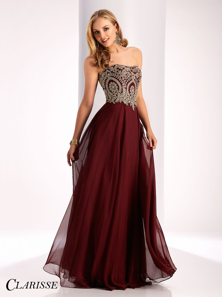 Clarisse 2017 prom dress style 3000. Long, flowy, strapless a-line burgundy prom dress with unique gold lace details. Shop this style at Promgirl.net!