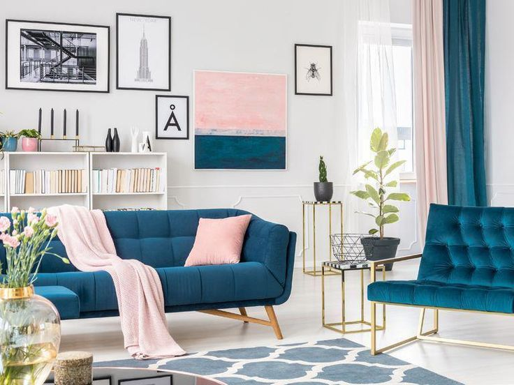 Best Glam Teal And Pink Living Room With Blue Velvet Couch 400 x 300