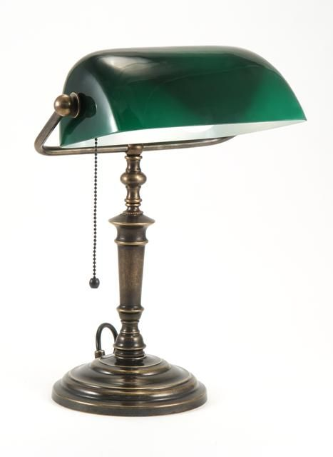 Classic Bankers Lamp With Glass Green Shade Is Hand Made In England From Solid Brass. Supplied By Luxury Lighting, Buy Online Today..