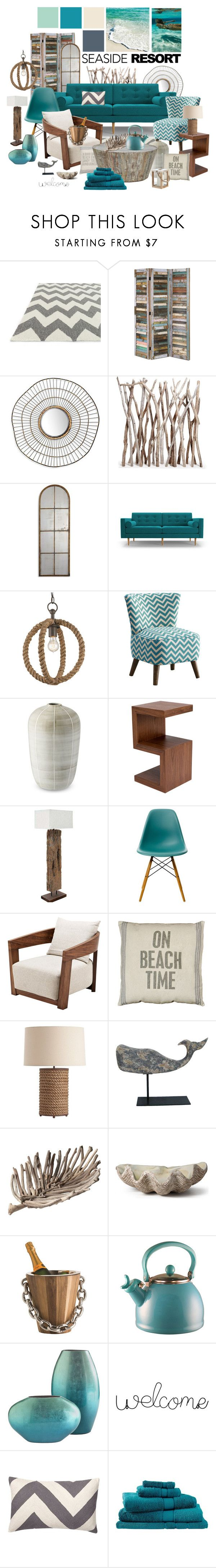 """Seaside resort"" by ellergy ❤ liked on Polyvore featuring interior, interiors, interior design, home, home decor, interior decorating, Loloi Rugs, Joybird, Dot & Bo and Vitra"