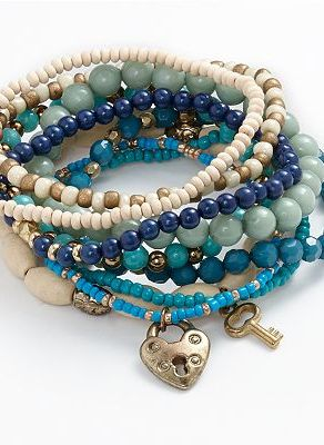 If this comes in lime green or red !  Mudd Gold- Tone Bead Stretch Bracelet Set