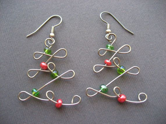 Christmas Tree Earrings. Red and Green on Silver Wire. Wire Wrapped Earrings.