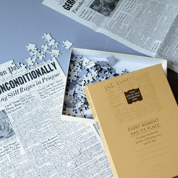 Fab anniversary gift idea, the front page of the newspaper from your wedding day as a jigsaw puzzle