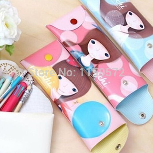 Free shipping Korea design school pen case with beautiful girl, creative and lovely pen bag for girls,PVC material,drop shipping
