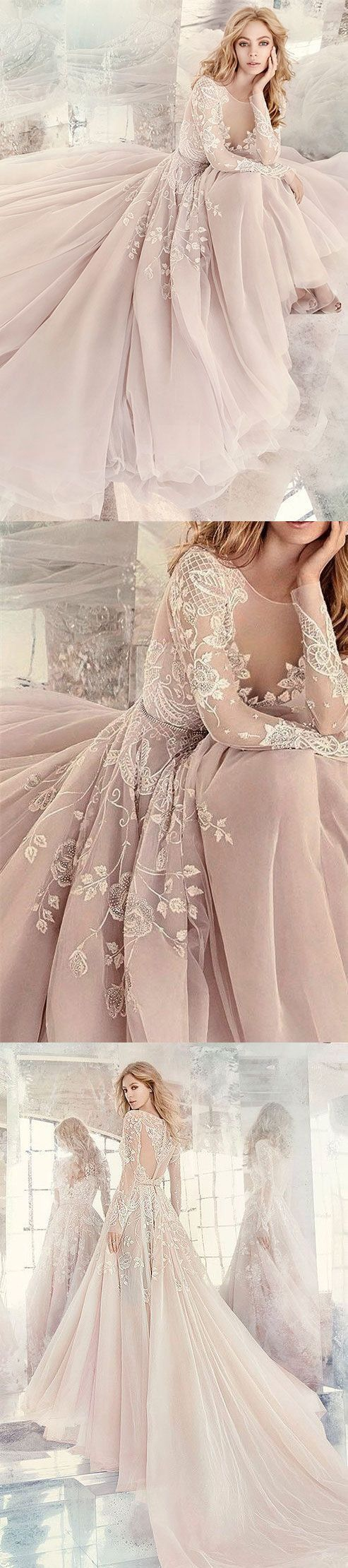 Charming Blush Pink Prom Dress,Embroidery Prom Dress, Long Sleeves Prom Dress,See Through Evening Dress