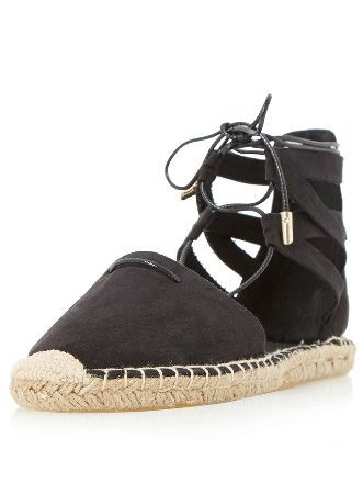 Dorothy Perkins Womens *Head Over Heels Black Ghillie Shoes- Espadrille shoe comes with ghillie lacing with metallic hardware and cross strap detail 100% TEXTILE. http://www.MightGet.com/january-2017-13/dorothy-perkins-womens-head-over-heels-black-ghillie-shoes-.asp