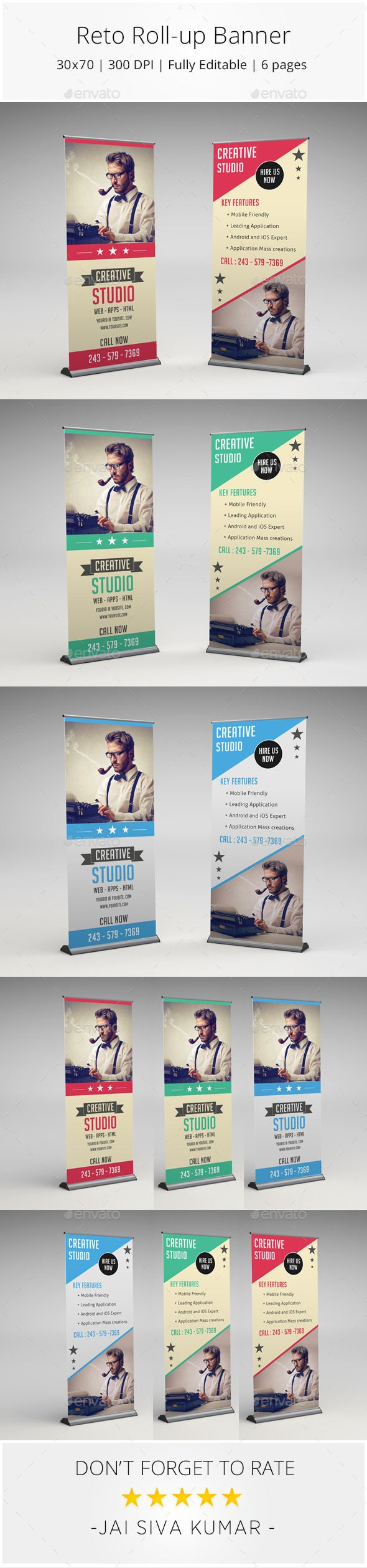 Retro Rollup Banner Template #design Download: http://graphicriver.net/item/retro-rollup-banner/10393914?ref=ksioks