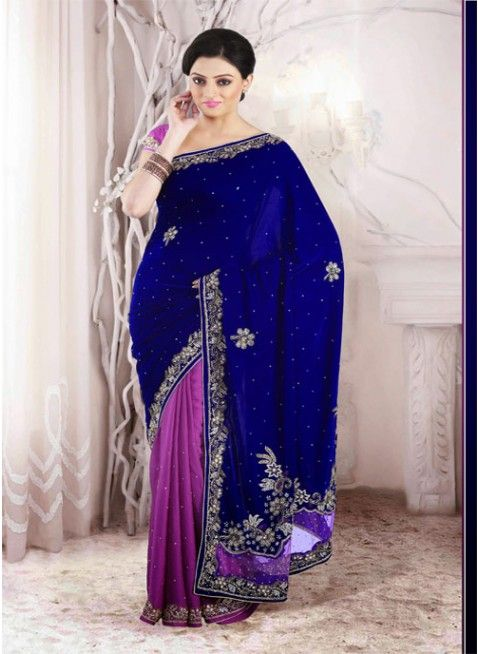 Magenta and Navy Blue #saree with velvet and chiffon jacquard fabric