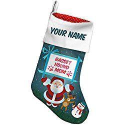 Basset Hound Dog Christmas Stocking, Basset Hound Mom