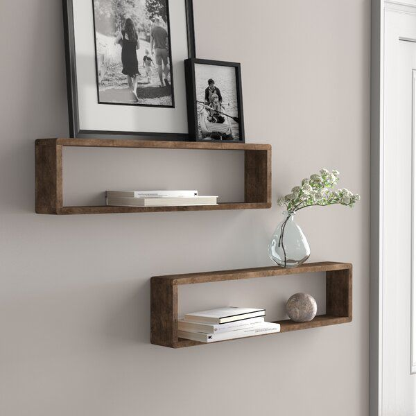 Hampden Stackable Long Box 2 Piece Wall Shelf Set In 2020 Rustic