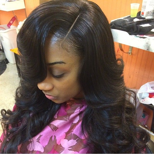Weave hairstyles with invisible part