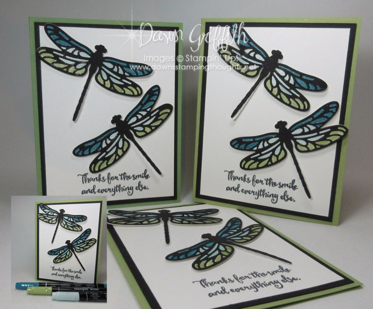 Stained Glass Dragonfly Pear Pizzazz Dawn Griffith Stampin up
