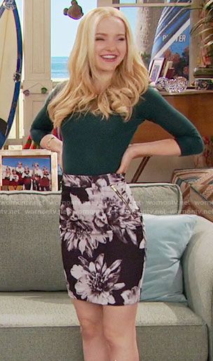 Liv's black and white floral skirt and green sweater on Liv and Maddie.  Outfit Details: https://wornontv.net/59920/ #LivandMaddie