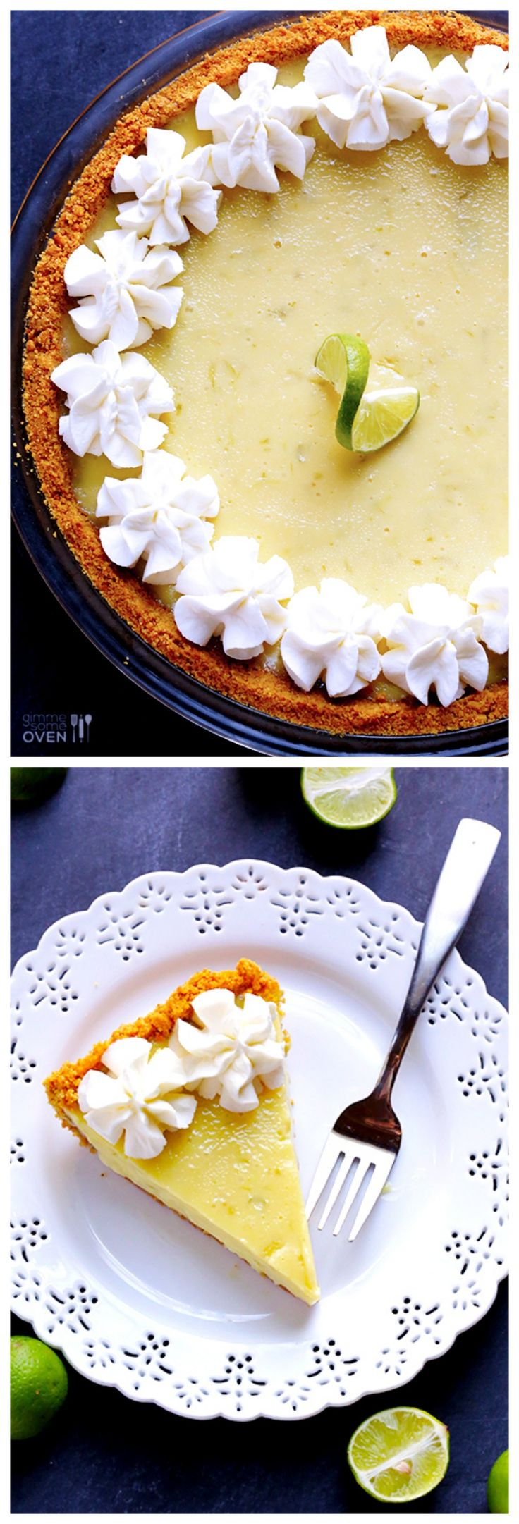 The BEST Key Lime Pie!  Made with a graham cracker crust and a simple 3-ingredient filling.  So fresh and tasty! gimmesomeoven.com #dessert