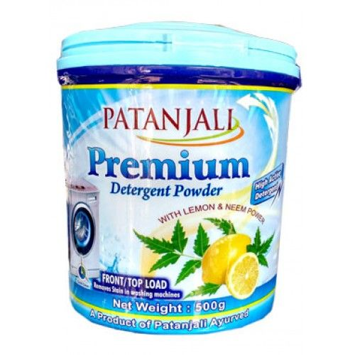 Detergent powder (with herbal contents) . Washing clothes with safety for skin. Patanjali Ayurveda prepares high-quality detergent powder having mix of herbals . It not only cleans cloths but also keep the skin safe. DETERGENT POWDER PREMIUM 500gm Price Rs.95