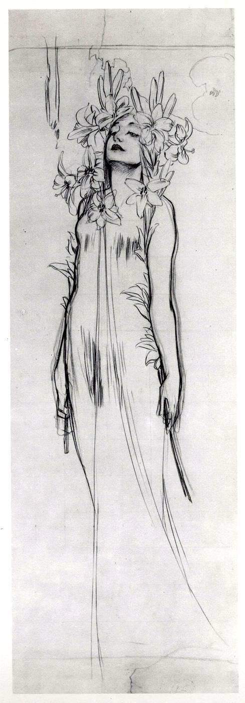 Charcoal sketch by Alphonse Mucha, for The Flowers: Lily, 1898
