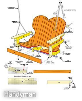 From The Family Handyman - DIY nice porch swing, all plans and details. Porch swing details