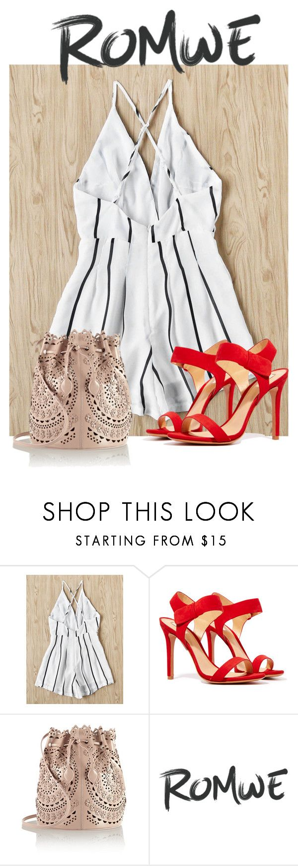 """""""Pop of Red"""" by myvalentinejohnnydepp ❤ liked on Polyvore featuring Schutz and Alaïa"""