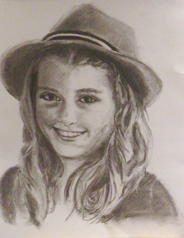 Portret Anniek getekend met houtskool op aquarel papier (37x46) GerdaViszer  Jan 2014