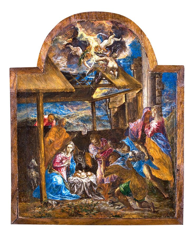 Christmas Card - Adoration of the Shepherds - D. THEOTOKOPOULOS (EL GRECO). THE ADORATION OF THE SHEPHERDS. 1567. OIL ON PANEL. AGNES ETHERINGTON ART CENTRE, QUEEN'S UNIVERSITY, KINGSTON, CANADA. GIFT OF ALFRED AND ISABEL BADER. 1991. (34-011)     Text card: blank