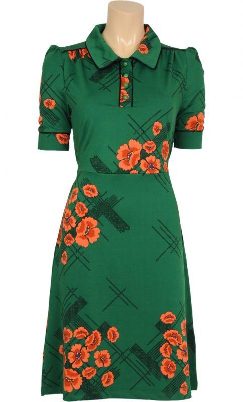 Groene jurk retro