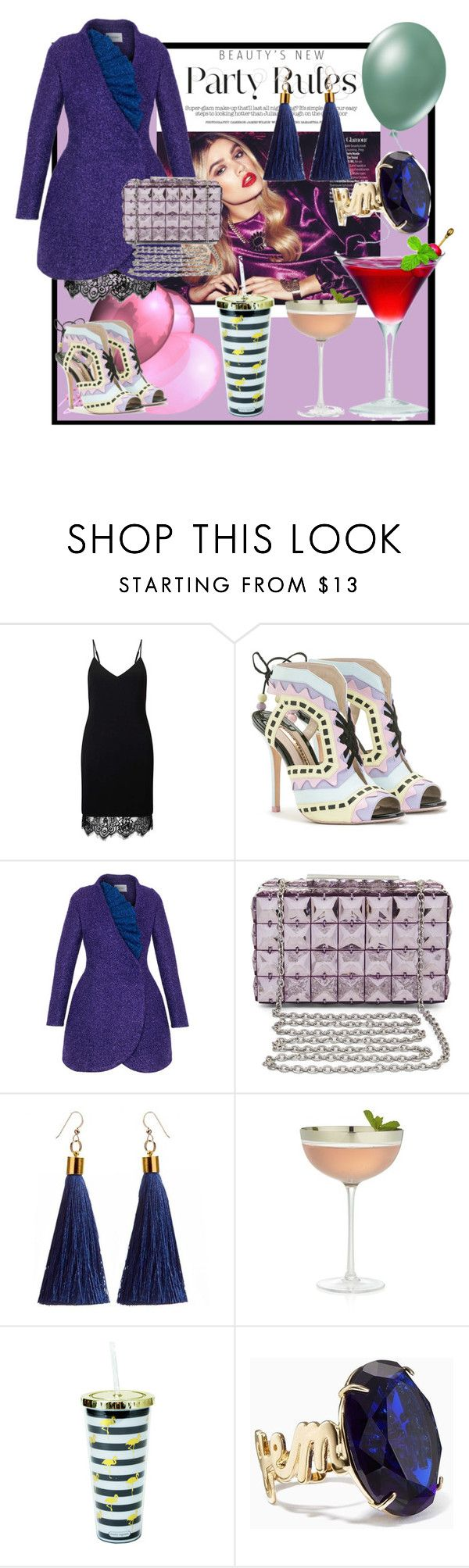 """""""Party rules"""" by teresa-ramil ❤ liked on Polyvore featuring Miss Selfridge, Sophia Webster, Rasario, BCBGMAXAZRIA, Crate and Barrel and Kate Spade"""
